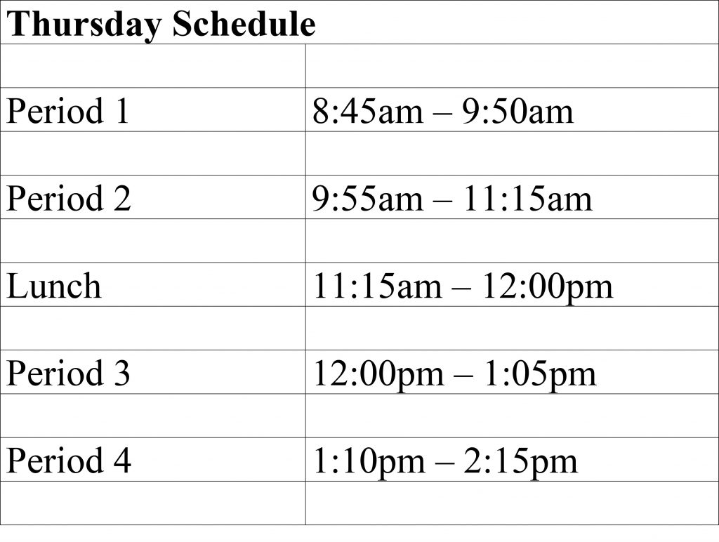 Modified Schedule Thursdays semester 2