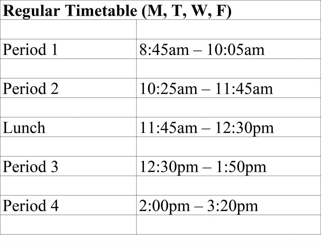 Regular timetable 2016-17 semester 2