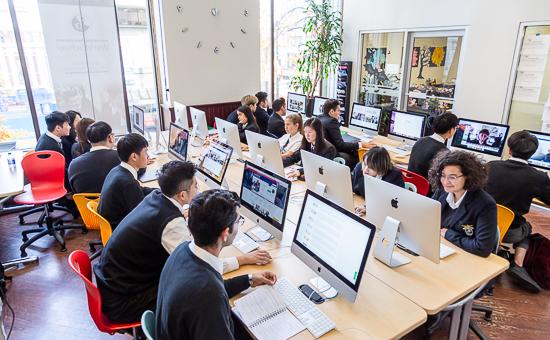 Alexander Academy students in school computer lab