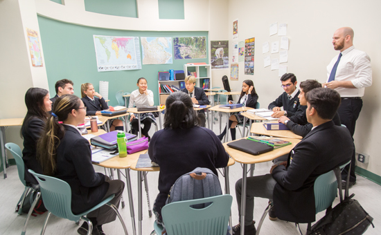 Alexander Academy students interacting during class