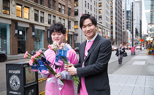 Alexander Academy Students in downtown Vancouver during pink day