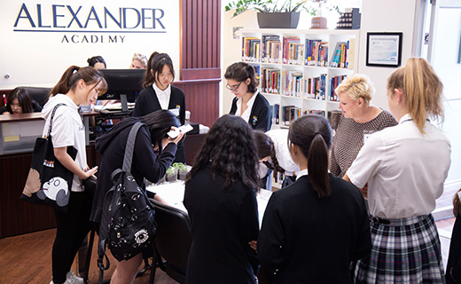 Alexander Academy group of students studying