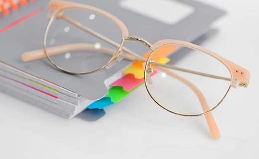 Eye glasses with spiral notebook